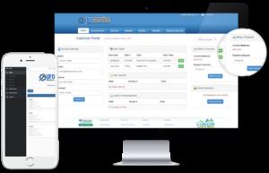 Equipment Rental Customer Portal Dashboard shown on desktop and mobile app