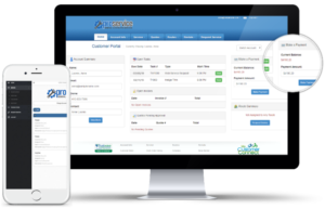 Construction and Property Management Customer Portal shown on desktop and mobile app