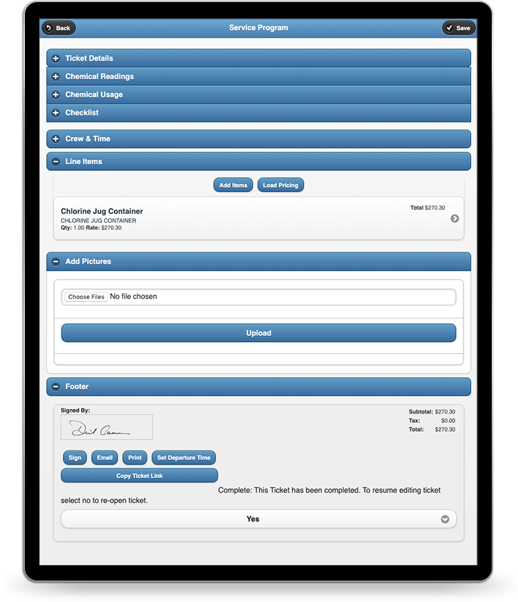 QuickBooks Business Management Software line items and signature capture on mobile app
