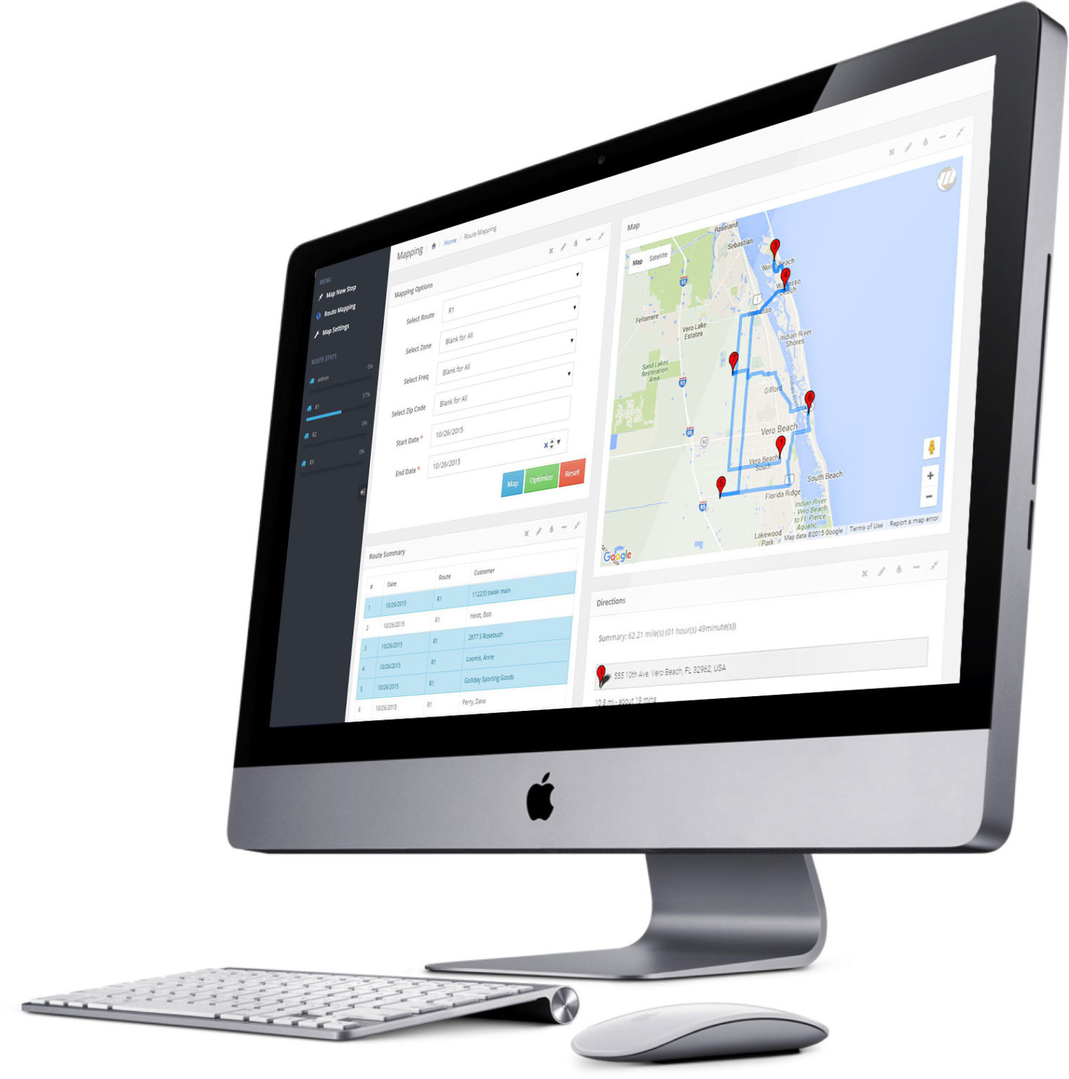 Mapping Software shown on the desktop