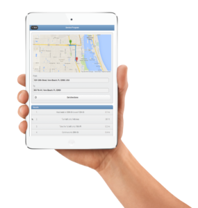 Plumbing routing software shown on desktop and mobile app