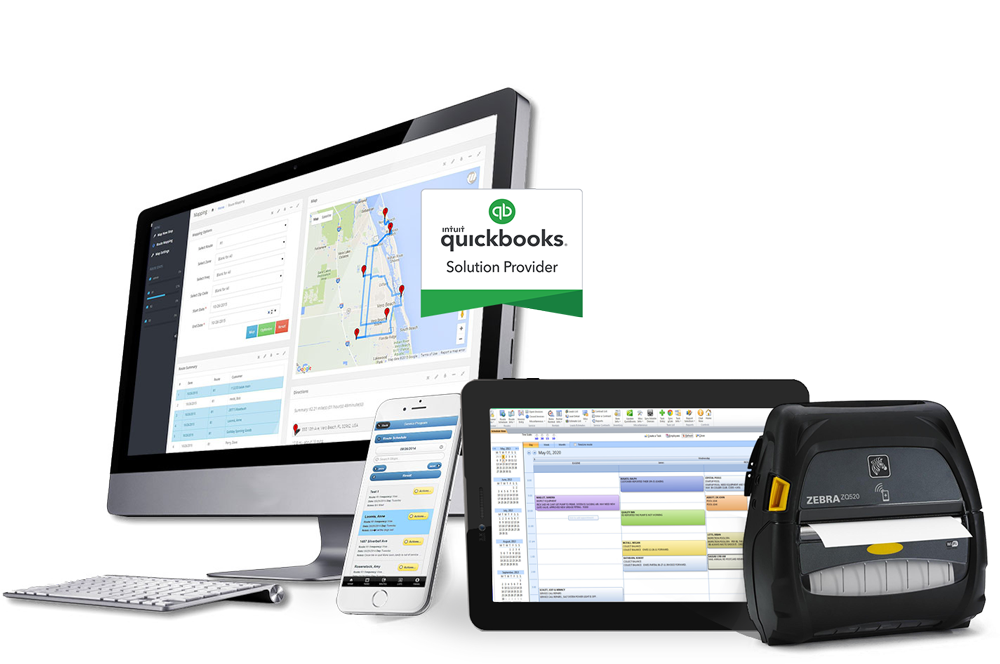 Driving Route Planning Software shown on desktop and mobile app