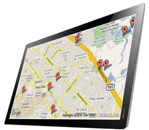 Service scheduling and equipment tracking software shown on a tablet