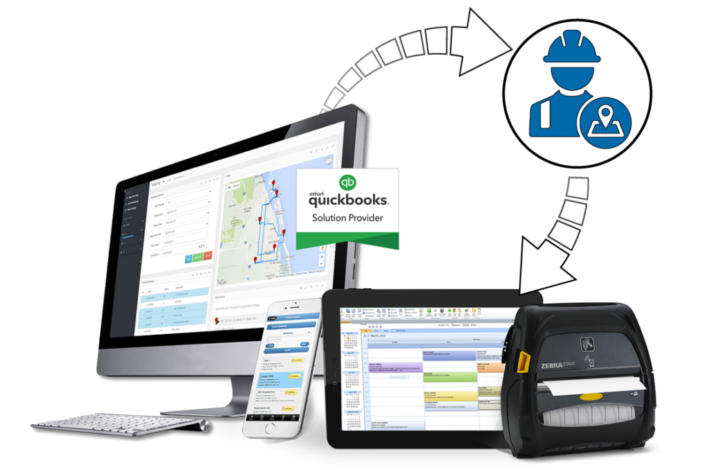 Field Service Routing Software shown on desktop and mobile app