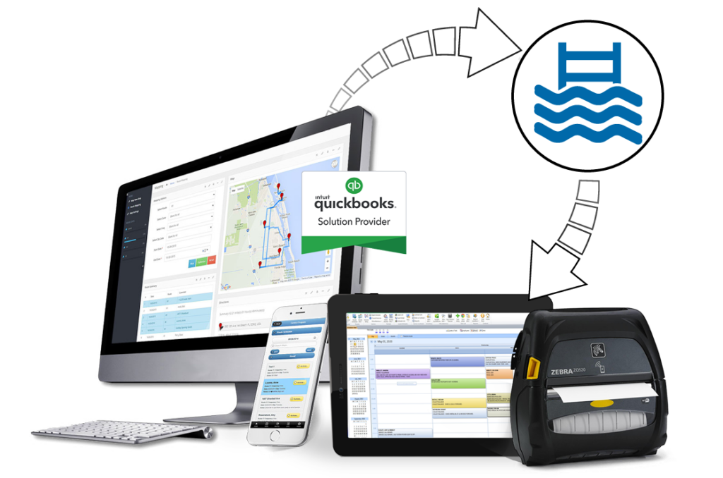 pool service routing software shown on desktop and mobile app