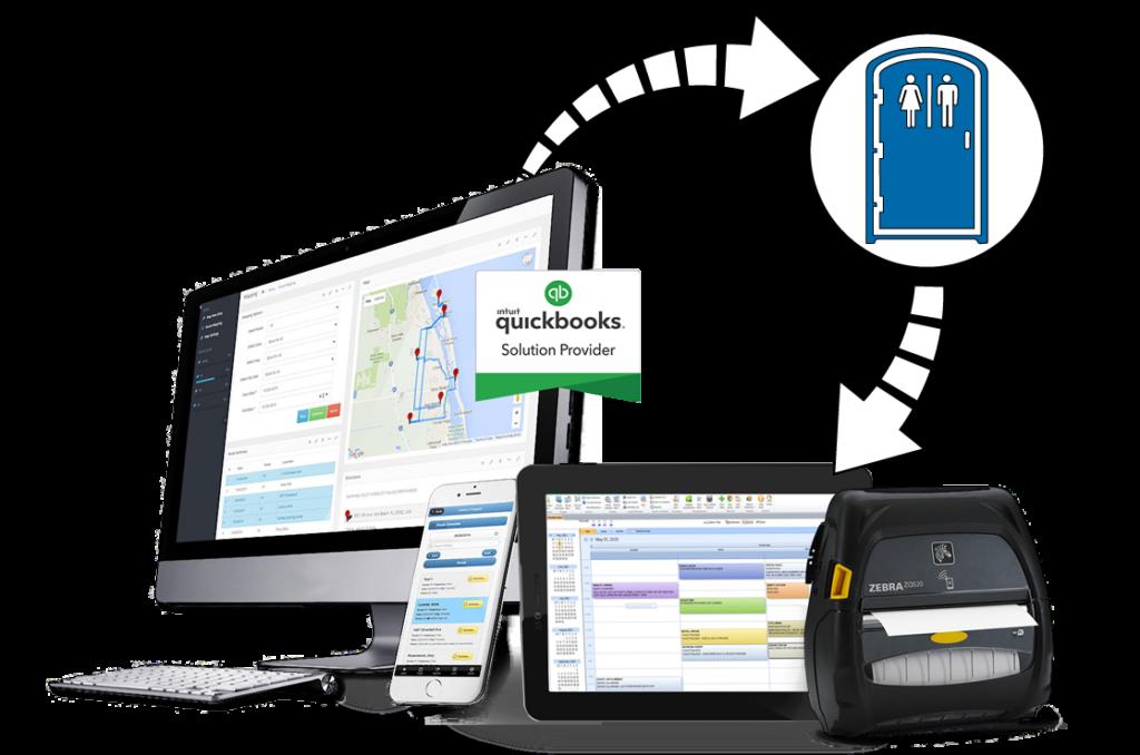 portable toilet rental software shown on desktop and mobile app