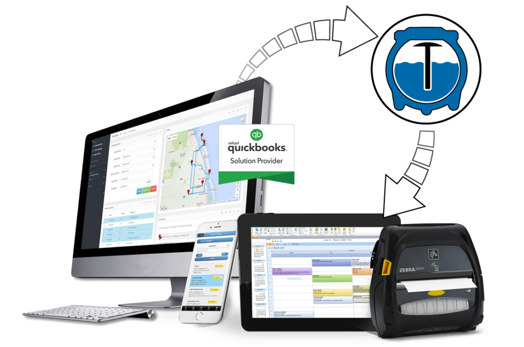 septic tank cleaning service software shown on desktop and mobile app